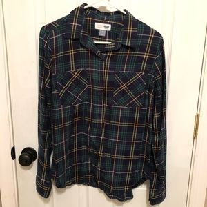 Old Navy classic flannel semi button down